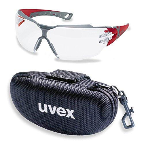 UVEX Schutzbrille pheos cx2 9198258 rot/grau mit UV-Schutz im Set inkl. Brillenetui - leichte und sportliche Sicherheitsbrille, Arbeitsschutzbrille - kratzfest, beschlagfrei, chemikalienbeständig