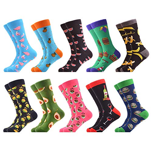 WeciBor Men's Dress Cool Colorful Fancy Novelty Funny Casual Combed Cotton Crew Socks Pack (062-46)