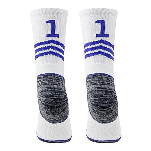 Funcat Gepolsterte ID Baseball Team Number Crew Socken 1 Paar, Herren, White/Blue 11 Team Number Football Socks, S Youth Child Shoe Size 2-6