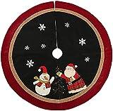 YSSWJD Falda de árbol Bordada con muñeco de Nieve y Papá Noel...