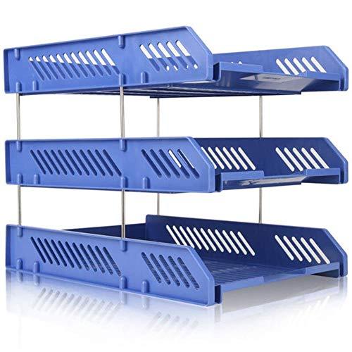 Elise Papierfach for Dokumente, 3 Ablagen for Veranstalter Dateien in schwarzem Kunststoff for Bürotische, Ordner Teiler, Ausziehböden, Abfüll- Expansion, Schwarz (Color : Blue)