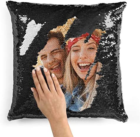 Custom Photo Sequin Pillow Cases Black Mermaid Sequin Pillow Case w Any Picture Magic Reversible product image