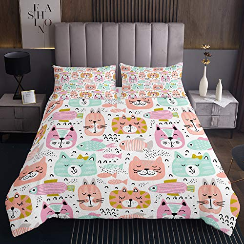 Homewish Nursery Bedding Set Kid Cartoon Coverlet Set Single Size Cute Cat Quilted Coverlet Fish Pet Animal Bed Cover for Kids Toddler Baby Living Room Decorative, Pink Green