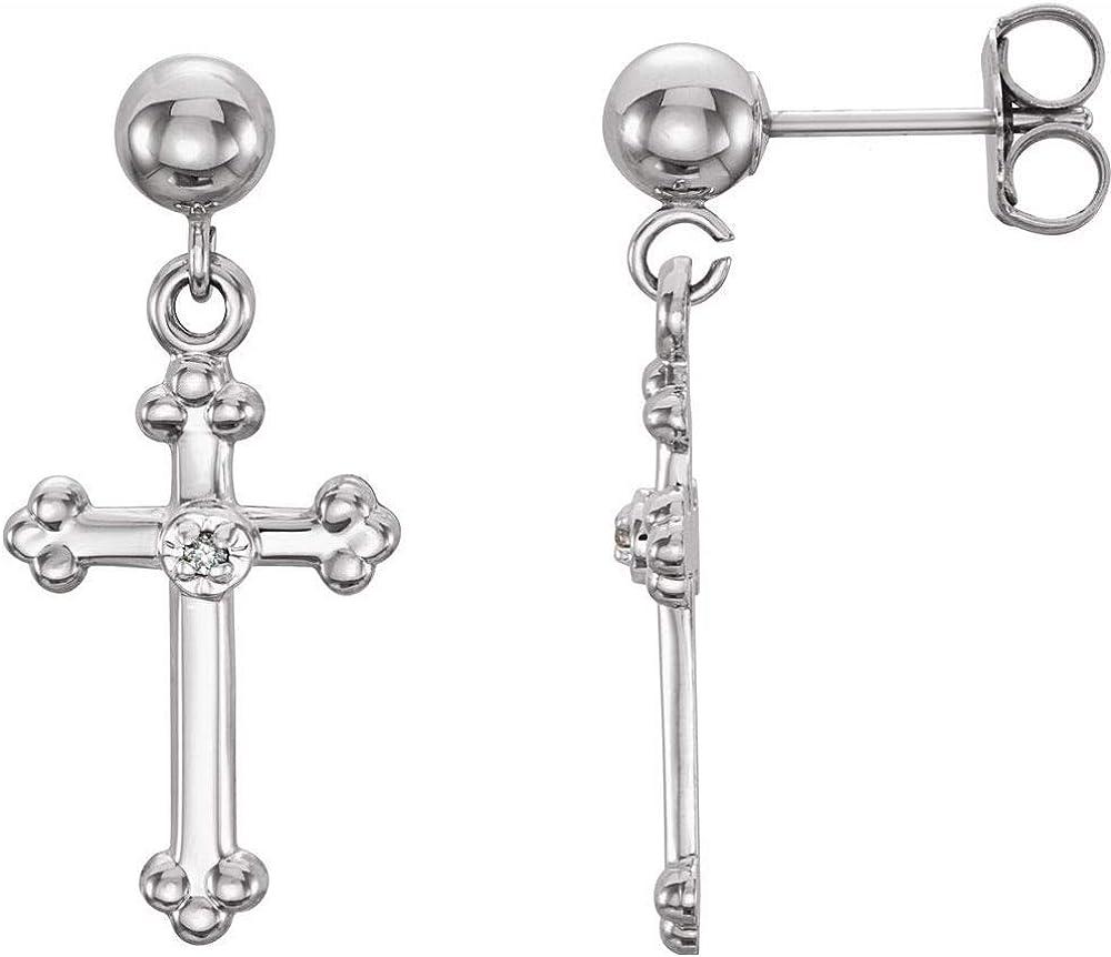.005 Cttw Diamond Cross Crucifix Dangle Earring (21mm x 9mm)