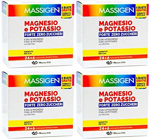 Massigen Magnesio e Potassio Forte Zero Zuccheri - 4 Confezioni