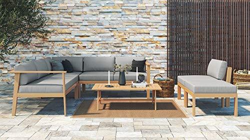 ARTELIA Mikoto Holz Loungemöbel - Gartenmöbel-Set für Garten, Wintergarten und Balkon, Terrassenmöbel Sitzgruppe, Natur Akazie