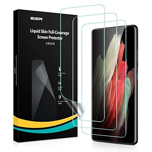 ESR Liquid Skin Display Schutzfolie kompatibel mit Samsung Galaxy S21 Ultra(6,8 Zoll) 3 Stück Polymer Folien mit Montageset und unterstützt Fingerabdruck Sensor