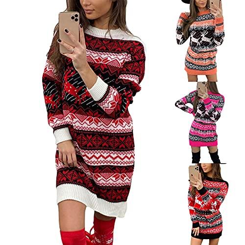 HHWY Strickkleider Für Damen Winter Knielang Pulloverkleid Frauen Christmas Drucken Rundhals Langarm Slim Fit Strickpullover Grobstrick Freizeitkleid Weihnachtskleid Stretch Blusenkleid Winterkleid