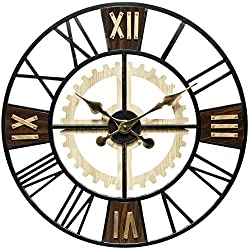 Infinity Instruments 20062 Decorative Traditional Graham Large Oversize 24 Inch Diameter Quartz Battery Powered Wall Clock, with Roman Numerals and Silent Movement