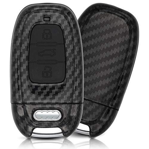 ASARAH Premium ABS Autoschlüssel Hülle kompatibel mit Audi - Edles Carbon Design mit Silikonschutz für Tasten - Carbon AI 3BKL