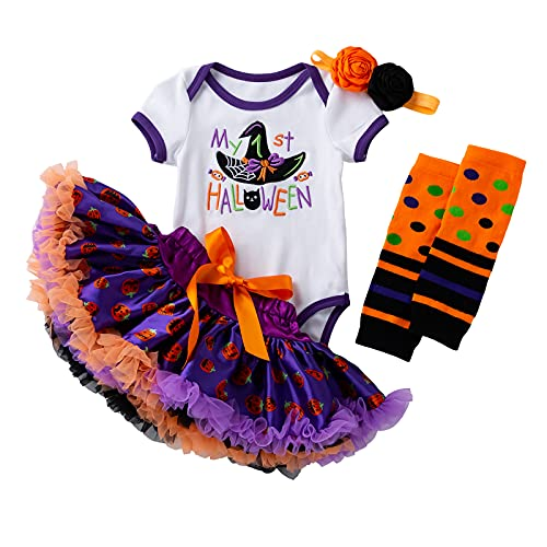 Baby Girls First Halloween Costume Tutu Skirt Dress Outfits Toddler Party Romper Shoes (Purple #1(Skirt Set), 3-6 Months)