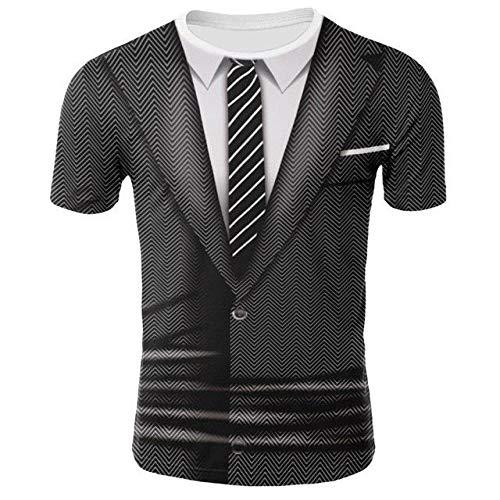 T-Shirt Finta Manica Corta da Uomo con Stampa Digitale 3D in Due Pezzi-T4000_3X