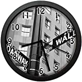 ウォール街とブロードウェイの金融街の交差点の道路標識寝室、居間、事務所などの壁掛け時計、直径24.7cm