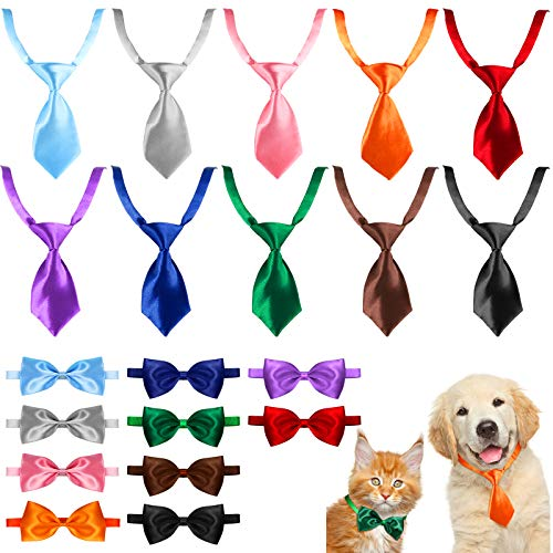 20 Pieces Dog Ties and Bowtie Set Adjustable Cat Bow Ties Neckties for Small Pet (Blank Patterns)