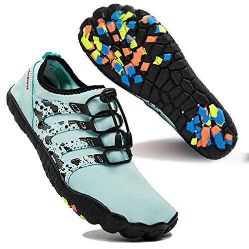 Zapatos de Agua para Hombre Transpirable Secado Rápido de Surf Escarpines Antideslizantes Calzado de Deportes Acuáticos Buceo, Verde Claro, 42 EU