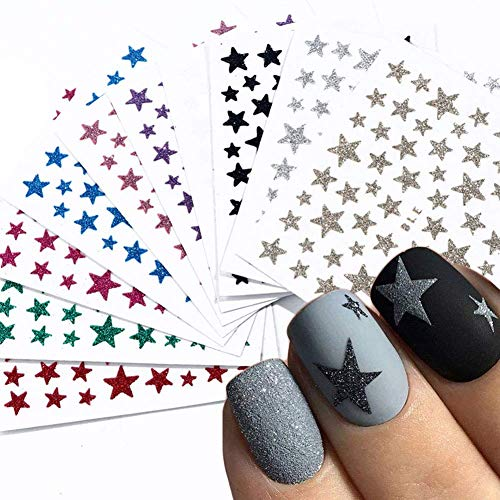 10 Sheets Star Nail Art Sticker Decals Nail Art Supplies 3D Self-Adhesive Nail Stickers Nail Slider Stars Stickers for Nails Glitter Shiny DIY Decoration Decal Colorful Nail Art Decor Manicure Tips