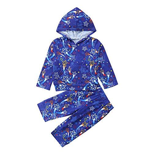 Babykleidung,Transwen Mode Kleinkind Kinder Baby Mädchen Langarm Weihnachten Star Print Kapuzenpullover Lange Hülse Tops + Hosen Outfits (110, Dunkelblau)