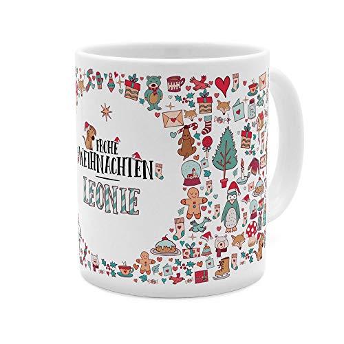 printplanet Tasse mit Namen Leonie - Motiv Frohe Weihnachten - Namenstasse, Kaffeebecher, Mug, Becher, Kaffeetasse - Farbe Weiß