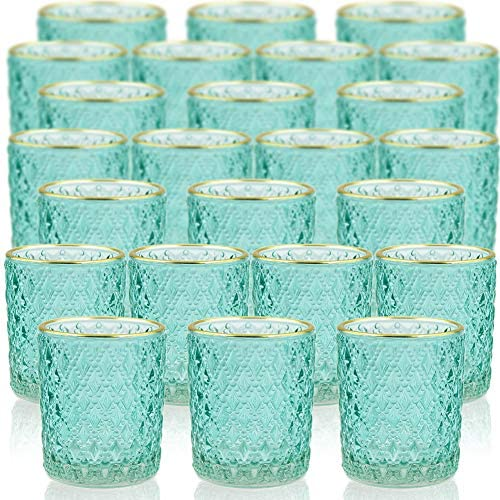SHMILMH Votive Candle Holders Set of 24 with Gold Line Glass Tealight Candle Holders Tea Candle product image