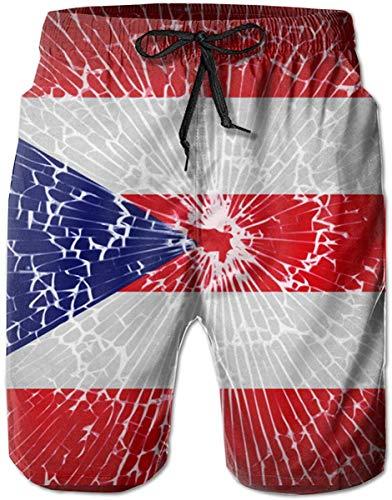 EU Herren Sommer Badehose Puerto Rico Flag Tie Dye Schnelltrocknen Funny Beach Board Shorts mit Mesh Futter 2XL