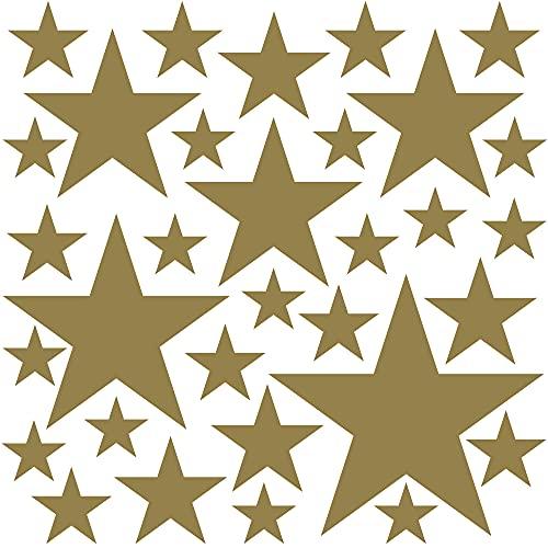 PREMYO 32 Estrellas Pegatinas Pared Infantil - Vinilos Decorativos Habitación Bebé Niños - Fácil de Poner Oro