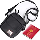 Black Small Side Shoulder Bag Crossbody Bag For Men Women Mini Messenger Bag Satchel Bag Travel Purse Wallet Passport Holder Bag, Cell Phone Purse Neck Pouch Wallet- Unisex