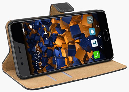 mumbi Echt Leder Bookstyle Hülle kompatibel mit Huawei Y3 Hülle Leder Tasche Hülle Wallet, schwarz