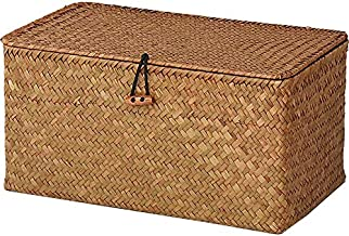 """DOKOT Rectangular Handwoven Seagrass Storage Basket with Lid and Home Organizer Bin, (M (12""""x7""""x6""""H), Yellow)"""