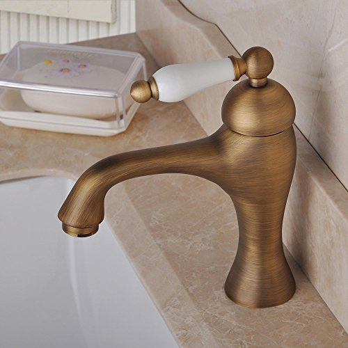 Centerset - Grifo mezclador monomando para lavabo (latón envejecido)