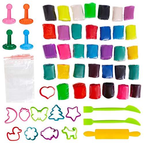 GenioKids MEGA Dough 34 Stück/ 1,7 kg mit 27 Zubehoer Große Bio Knete Farbenset für Kinder