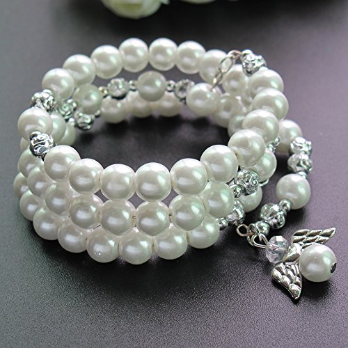 Baptism favor 12PC Rosary Wrap Angel Bracelet Glass Pearl White - Wedding Favors