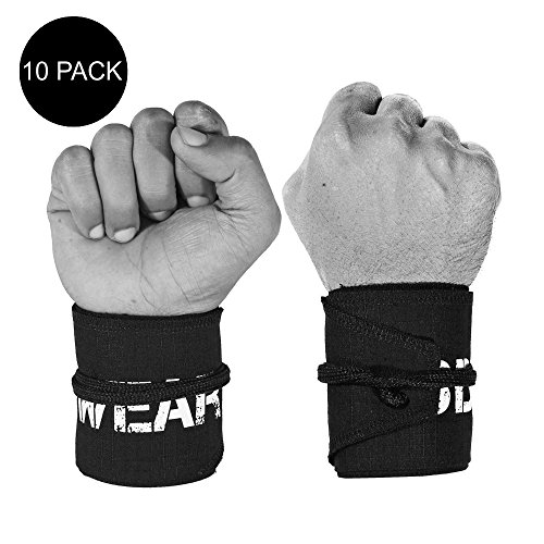 Wrist Wraps for Cross-Training, Fitness, Exercise, Bodybuilding, Olympic Weightlifting - Colors for Men and Women - Once Size Fits All (10 Pack - Black)