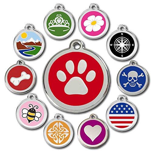 Love Your Pets Deluxe Pet ID Tags - Deep Engraved Stainless Steel - Now Selling on Amazon - Engraving Will Last – 120 Design Choices of Pet Tags, Dog Tags, Cat Tags Most Ship Next Day (Red, Pawprint)