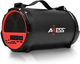 AXESS SPBT1037 Portable Bluetooth Indoor/Outdoor 2.1 Hi-Fi Cylinder Loud Speaker with..