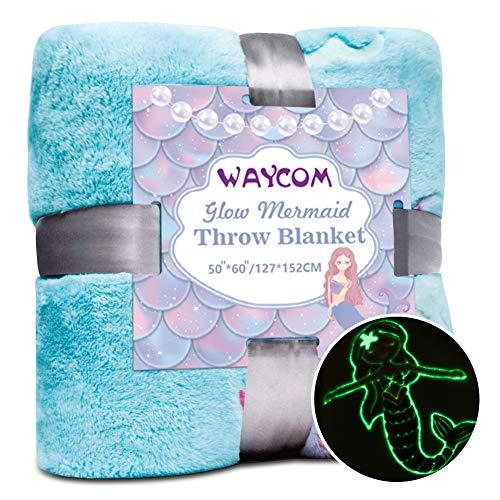 WAYCOM Glow in The Dark Throw Blanket,Super Soft Mermaid Theme Pattern Flannel Blanket Mermaid Luminous Blanket Christmas Fun Gift for Girls Boys Kids 60''x50''