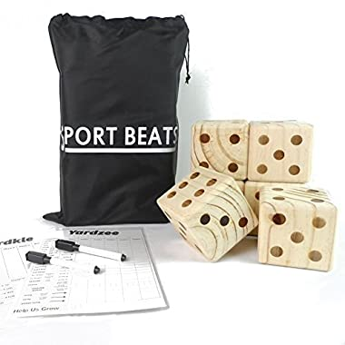 SPORT BEATS Giant Wooden Yard Dice Set 6 in Carry Bag for Outdoor Fun, Barbeque, Picnic, Tailgating Games, Party Events, Lawn Games with Dry Erase Scorecards and Marker Pen Free