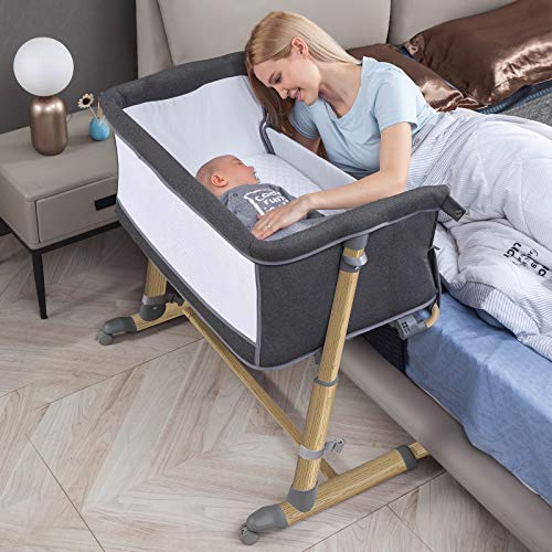 Bassinet for Baby, RONBEI Baby Bassinet Bedside Sleeper, Portable Bassinet for Baby Cribs for Infant/Newborn, 9 Height Adjustable Baby Bed with Wheels