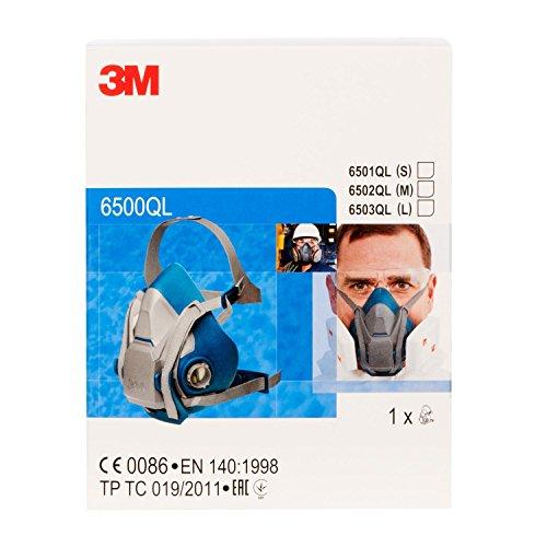 3M Atemschutz-Halbmaske 6502QL – Atemmaske mit Cool-Flow Ausatemventil & Quick-Release Mechanismus – Mehrwegmaske mit großer Filterauswahl für unterschiedlichste Einsatzzwecke - 5