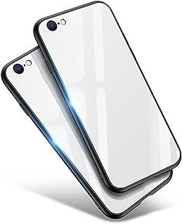 iPhone8 ケース iPhone7 ケース Aunote TPU 背面ガラス おしゃれ 耐衝撃 薄型 ハードケース ストラップホール付き ワイヤレス充電対応(アイホン8ケース / アイホン7ケース ホワイト)