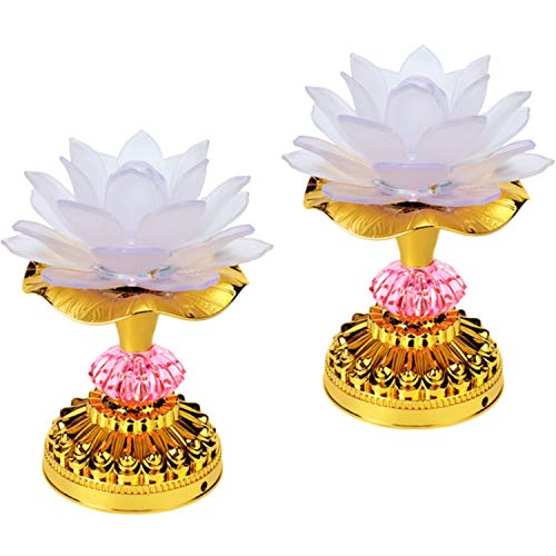 LACGO Pack of 2 LED Lotus Buddhist Lights, 7 Color-Changing Gradient Buddha Lotus Lamps, 2 in 1 USB or Battery-Operated Buddhist Worship Prayer Faith Supply Things(3.3''W/5.5''H, White)