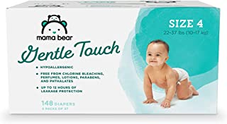 Amazon Brand - Mama Bear Gentle Touch Diapers, Hypoallergenic, Size 4, 148 Count (4 packs of 37)