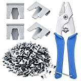 300 Pieces Wire Cage Clips with 1 Piece Wire Cage Buckle Snap Plier for Rabbit Chicken Pet Dog Cat Cage (Silver, Blue)