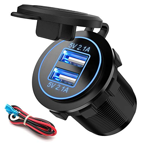 Dual USB Charger Socket, SunnyTrip Power Outlet Adapter 2.1A & 2.1A (4.2A) for Car Boat Marine RV Mobile with Wire Fuse DIY Kit Blue LED