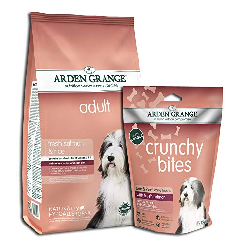 Arden Grange Adult Dry Dog Food with Fresh Salmon and Rice, 12 kg with Crunchy Bites Dry Dog Treats Salmon, 225 g