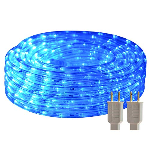50ft LED Round Rope Lights with Waterproof 540 LEDs Strip Lights Blue with 110V...