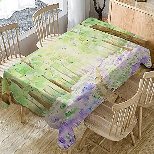 XXDD Mantel Verde Claro con Estampado de Bosque de Acuarela, Rectangular, Cubierta de Mesa de Centro, Comedor, Boda, a Prueba de Polvo, Mantel A1 140x140cm