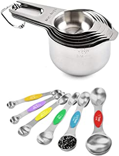Magnetic Measuring Spoons Cups Set Useful Coffee Scoop Kitchen Gadgets Double Metal Sided Stainless Steel for Cooking & Ba...