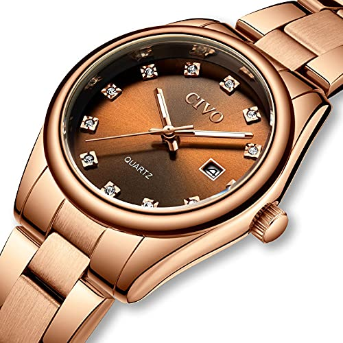 CIVO Relojes para Mujer Reloj de Pulsera con Fecha de Acero Inoxidable Resistente al Agua en Oro Rosa, Elegante Reloj de Diamantes para Mujer, Reloj de Cuarzo analógico para Mujer