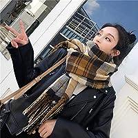 冬のタータンスカーフカシミヤチェック柄スカーフ女性用パシュミナ冬の暖かいショール女性のチェック柄ポンチョレディース厚手のブランケットタッセルスカーフ-E