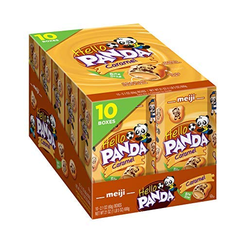 Meiji Hello Panda Cookies, Strawberry Crème Filled, Bite Sized Cookies with Fun Panda Sports, 2.1 oz (Pack of 10)